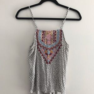 Tribal patterned peek-a-boo back tank top